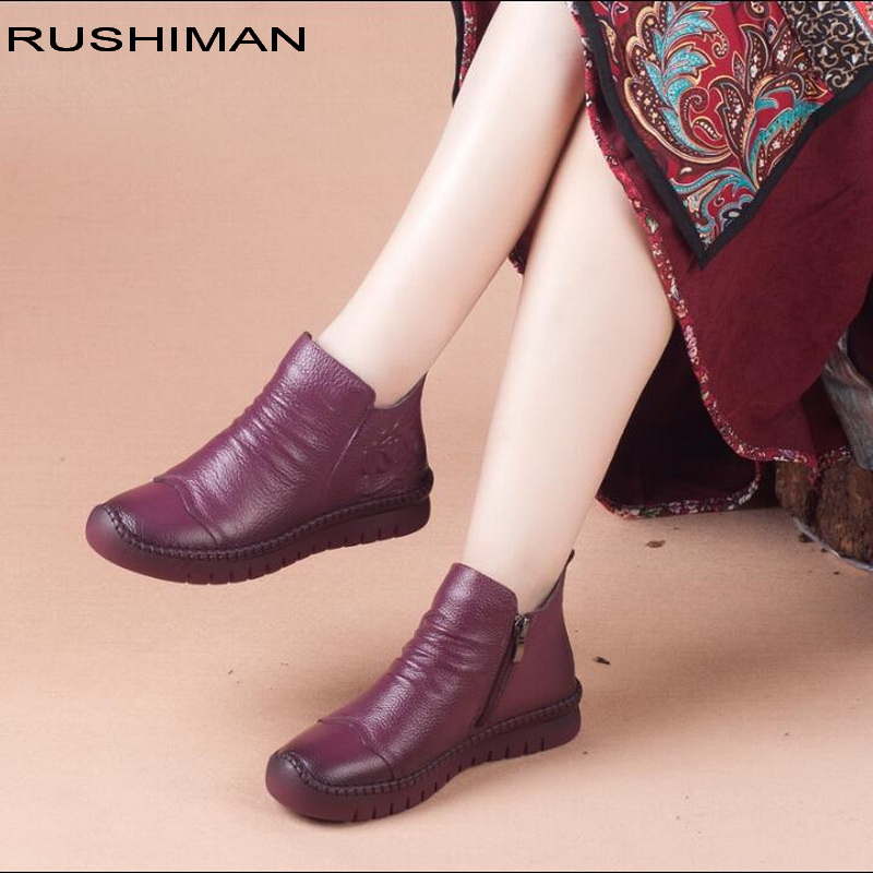 2018 winter New women boots plus velvet warm shoes Genuine Leather female Ankle Boots Handmade soft