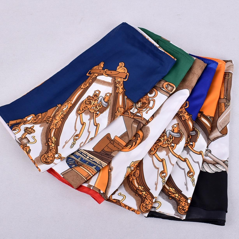 Shawl Scarf For Women Print Silk Satin Hijab Scarfs Female 130cm*130cm Luxury Brand Square Shawls Scarves For Ladies 2019