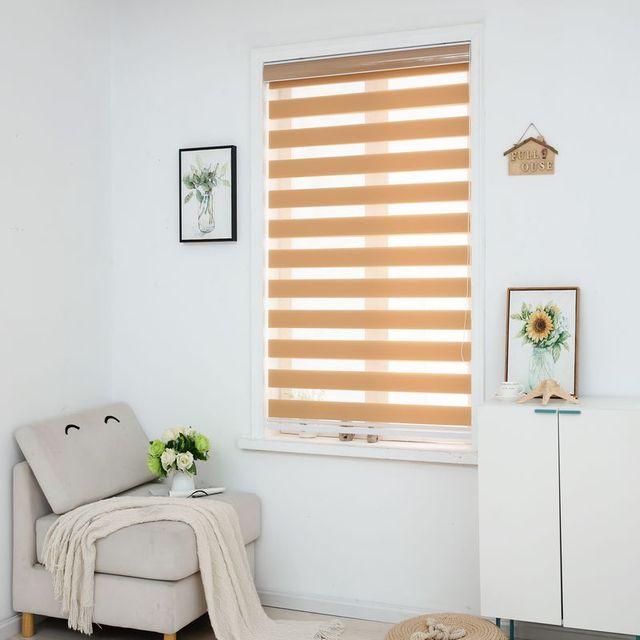 Zebra jaluzi yatay pencere gölgeliği çift katmanlı stor perde pencere özel kesim boyutu haki perdeleri oturma odası için