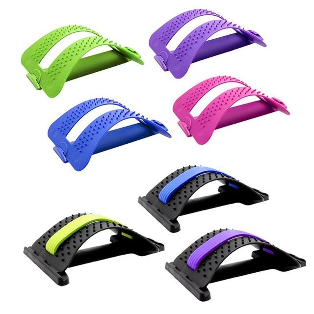 1pc Back Stretch Equipment Massager Massageador Magic Stretcher Fitness Lumbar Support Relaxation Spine Pain Relief random color 1