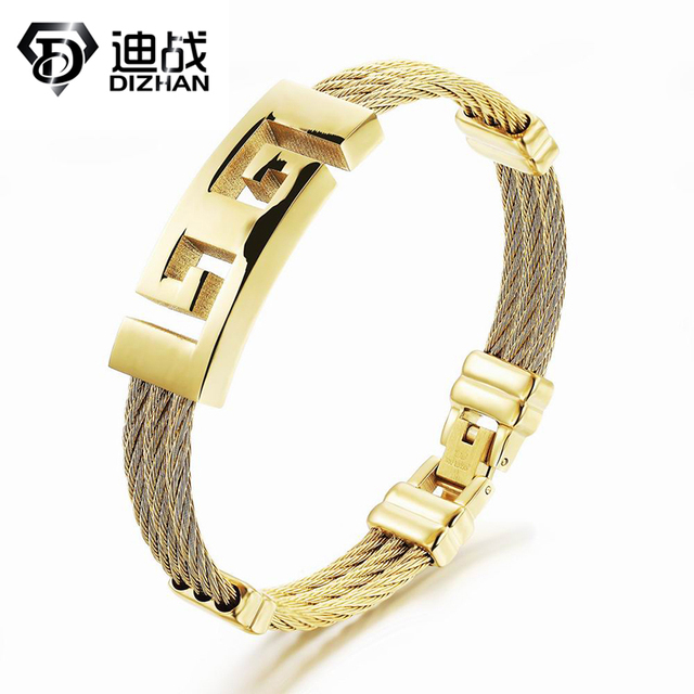 Heavy Metal Great Wall Radiation Protection Bracelet Hollow Titanium Stainless Steel 3 Layers Chain Gold Plated Bangle
