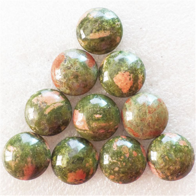 (10 pieces/lot) Wholesale Natural Unakite Gem Round CAB CABOCHON 20x6mm Free Shipping Fashion Jewelry S-271