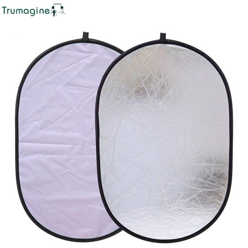 TRUMAGINE 60x90CM 2 en 1 Portable pliable argent & blanc photographie réflecteur ovale Photo Studio lumière réflecteur caméra