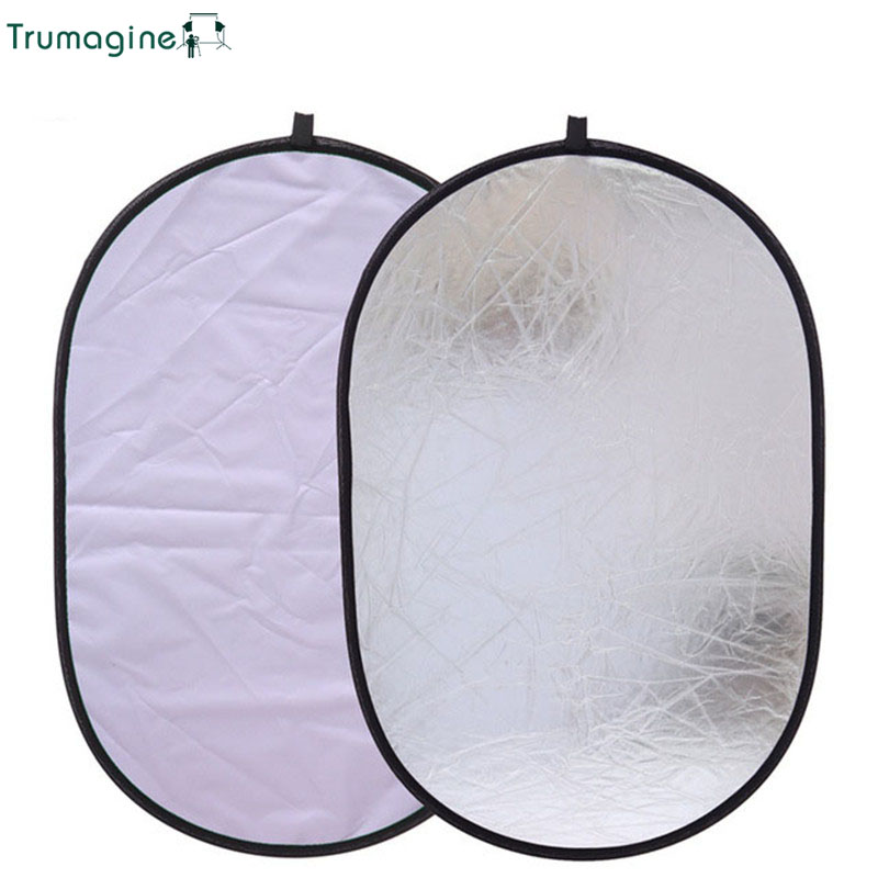 TRUMAGINE 60x90CM 2 in 1  Portable Collapsible Silver&White Photography Reflector Oval Photo Studio Light Reflector Camera TRUMAGINE 60x90CM 2 in 1  Portable Collapsible Silver&White Photography Reflector Oval Photo Studio Light Reflector Camera