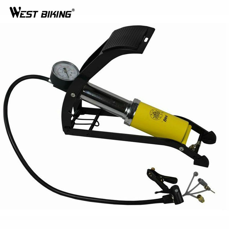 WEST BIKING Pressure Single Cylinder Foot Portable Bicycle Pump Electric Cars Bike Motorcycle Soccer Volleyball Inflatable Pump portable cycling steel single barrel cylinder foot air pump for bicycle blue
