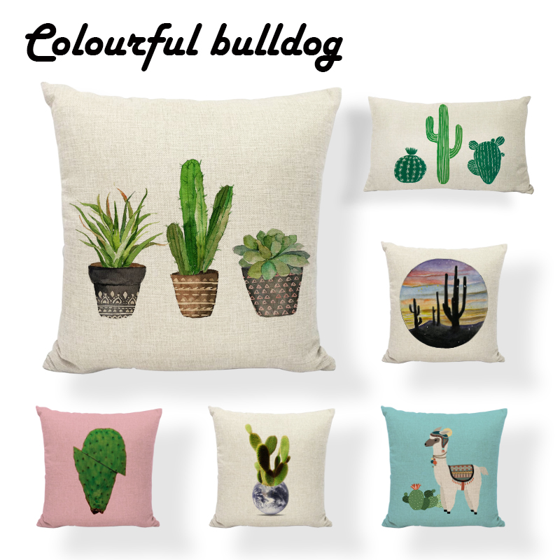 Painted Cactus Throw Cushion Covers Modern Art Green Plant Linen Cotton Spring Home Decor Gaming Chair Couch Gifts Pillows Case