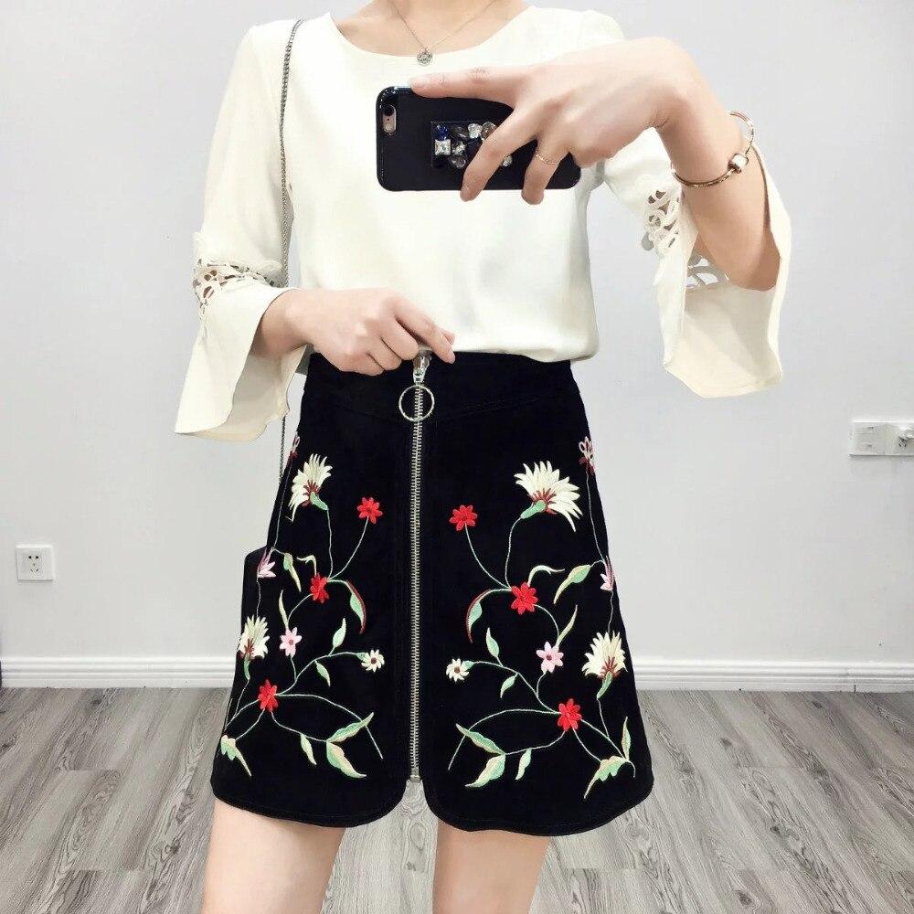 2017 весна лето европейской моды замши материал вышивка короткая юбка империя тонкий женщины line юбка