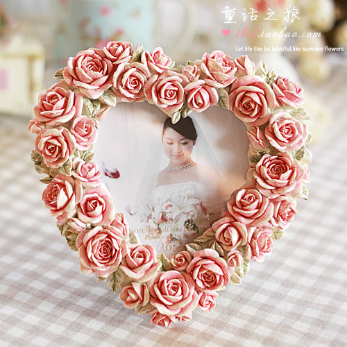 free shipping 6 married swing sets fashion exquisite sweet heart quality rustic rose photo frame