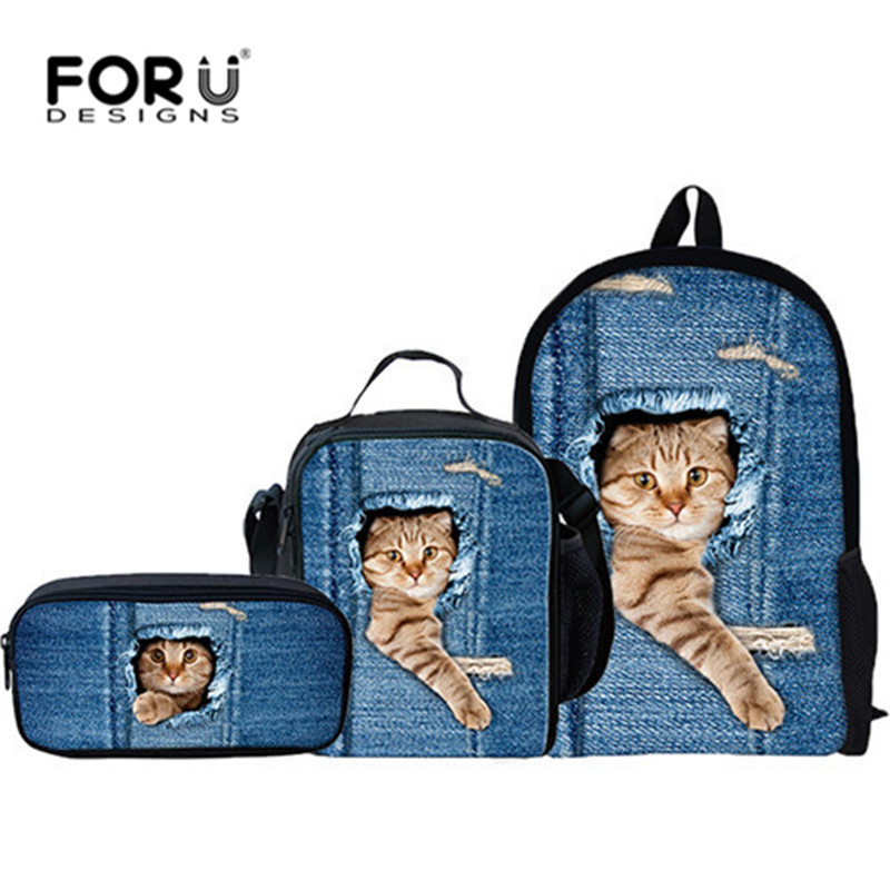 FORUDESIGNS 3 Pcs/Set Cute Cat Backpack Animal Denim Backpacks for Children Casual Kids School Bag Boys Girls Travel Backpack hynes eagle 3 pcs set 3d letter bookbag boys backpacks school bags children shoulder bag mochila girls exo printing backpack