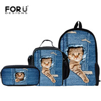 FORUDESIGNS 3 Pcs Set Cute Cat Backpack Animal Denim Backpacks For Children Casual Kids School Bag
