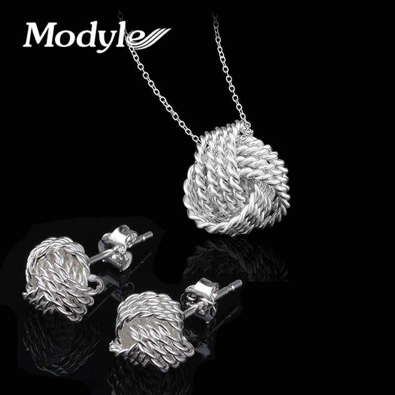 Modyle New Fashion Engagement Jewelry Set Brand Bridal Jewelry Sets For Women Pendant Necklace/Stud Earrings Wedding Jewelry Set