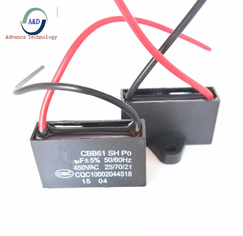 1 pcs seulement la bonne qualité CBB61 450 v 1 uf 1.2 uf 1.5 uf 1.8 uf 2 uf 2.5 uf 3 uf 3.5 uf 4 uf 4.5 uf condensateur de démarrage pour AC Ventilateur 450 v CBB61
