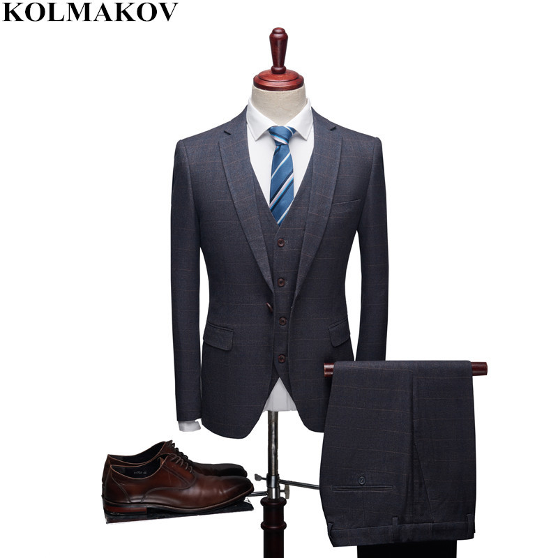 (Jacket+Vest+Pants) 2019 Mens Suits with Pants for Wedding Slim Fit S-4XL Good Quality 3 Pieces Groom Suits Homme Formal Suit