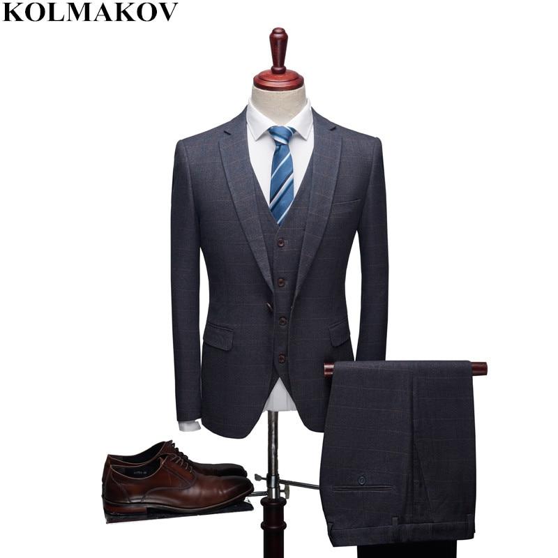 Formal Hombres Pantalones chaqueta Chaleco 3 Piezas La Novio Buena Homme  Corte Pantalones Trajes gris Slim Oscuro De ... a64fc62eb26