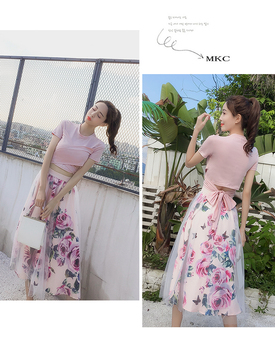 HIGH QUALITY Women Irregular T Shirt+Mesh Skirts Suits Bowknot Solid Tops Vintage Floral Skirt Sets Elegant Woman Two Piece Set 4