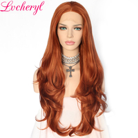Lvcheryl Orange Copper Red Color Natural Fully Hair Long Wavy Heat Resistant Fiber Glueless Synthetic Lace Front wigs for Women