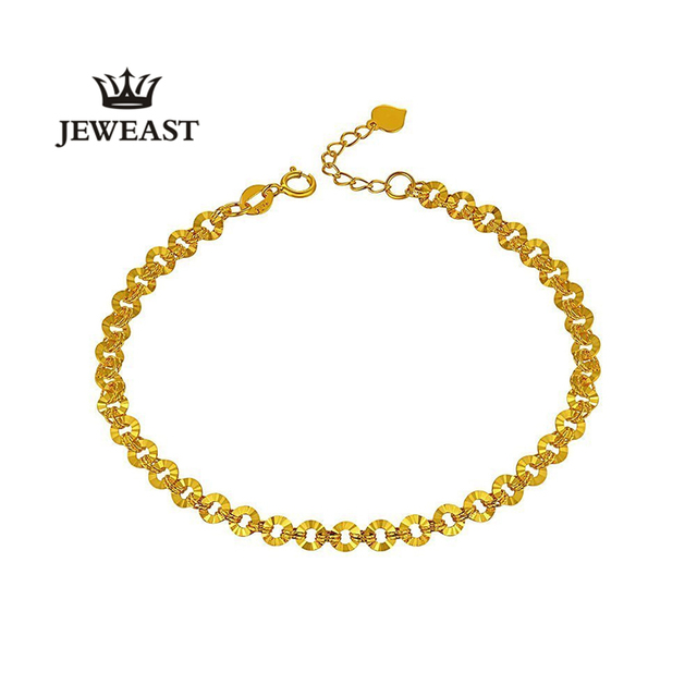 24k Pure Gold Simple String Money Bracelets for Women Exquisite Cutting Process Smooth and Continuous Line Shape 999 Solid Gold