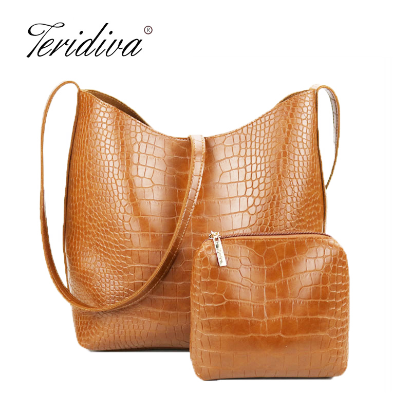 29b304fdec Teridiva Women s Handbags Bolso Mujer Women PU Leather Large Capacity Shoulder  Bags Tote Crocodile Handbag Composite