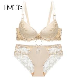 Image 5 - Norns Nữ Plus Kích Thước Bộ Đồ Lót Trong Suốt Push Up Đỏ Đồ Lót Áo Ngực Phối Ren Thêu Thân Mật Áo Lót Bộ Đồ Lót Ren Sexy