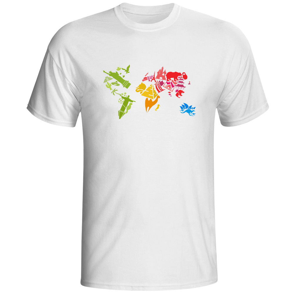 world famous buildings and animals map t shirt design. Black Bedroom Furniture Sets. Home Design Ideas