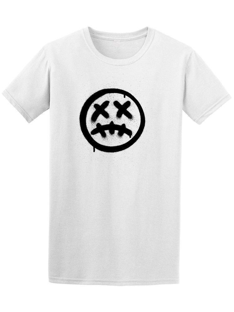 Graffiti Scary Sick Emoji Mens Tee White O Neck Cotton T-Shirt T Shirt O-Neck Summer Personality Fashion Men T-Shirts