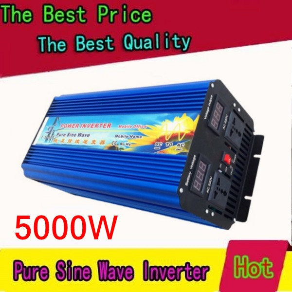 цена на Doubel Digital Display 5000W 10000W peak DC 12V to AC 220/230/240V Pure Sine wave Solar inverter 5000 watt power inverter