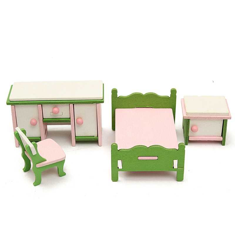 Hot Sale DIY Handmade Doll House Miniature Bedroom Wooden Furniture Set Gifts For Children Kids Role Pretend Playing Toy