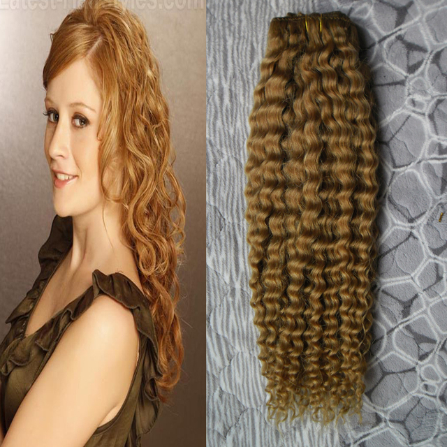 8a Honey Blonde Brazilian Kinky Curly Clip Ins African American Clip