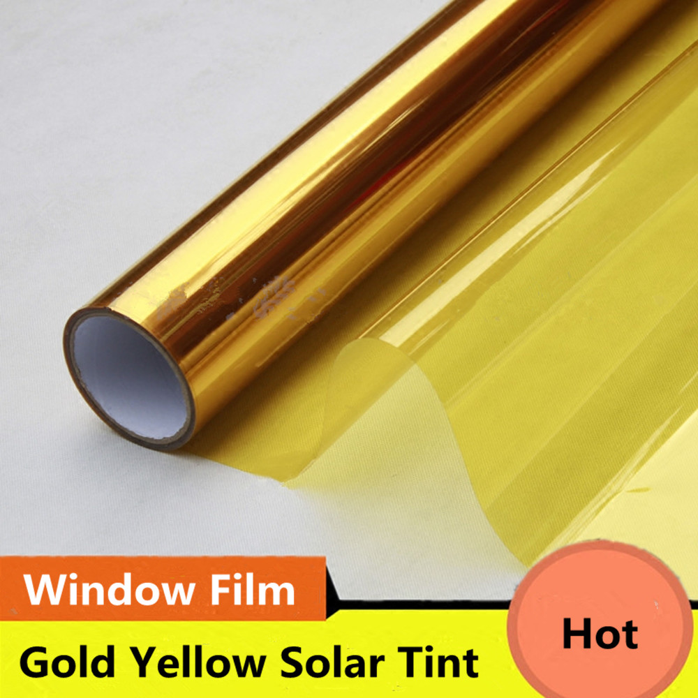 2 Mil Gold Yellow Decoration Solar Tint Window Film Improve Privacy UV 99 Heat Proof High