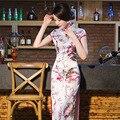 2015 estilo verão longo cheongsam feminino vestido de seda fina Do Vintage diário cheongsam chinês qipao vestido chinês vestidos orientais