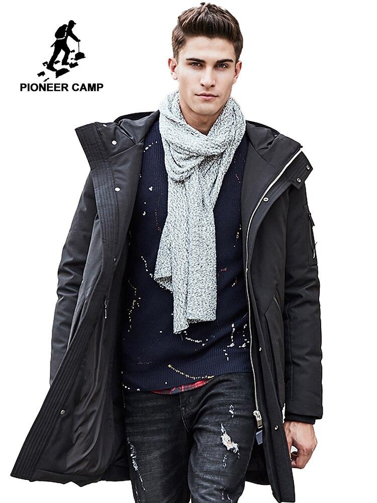 Pioneer Camp Russe d'hiver vers le bas veste hommes vêtements de marque Haut qualité À Long chaud Épais 90% Blanc duvet de canard manteau Mâle 611607