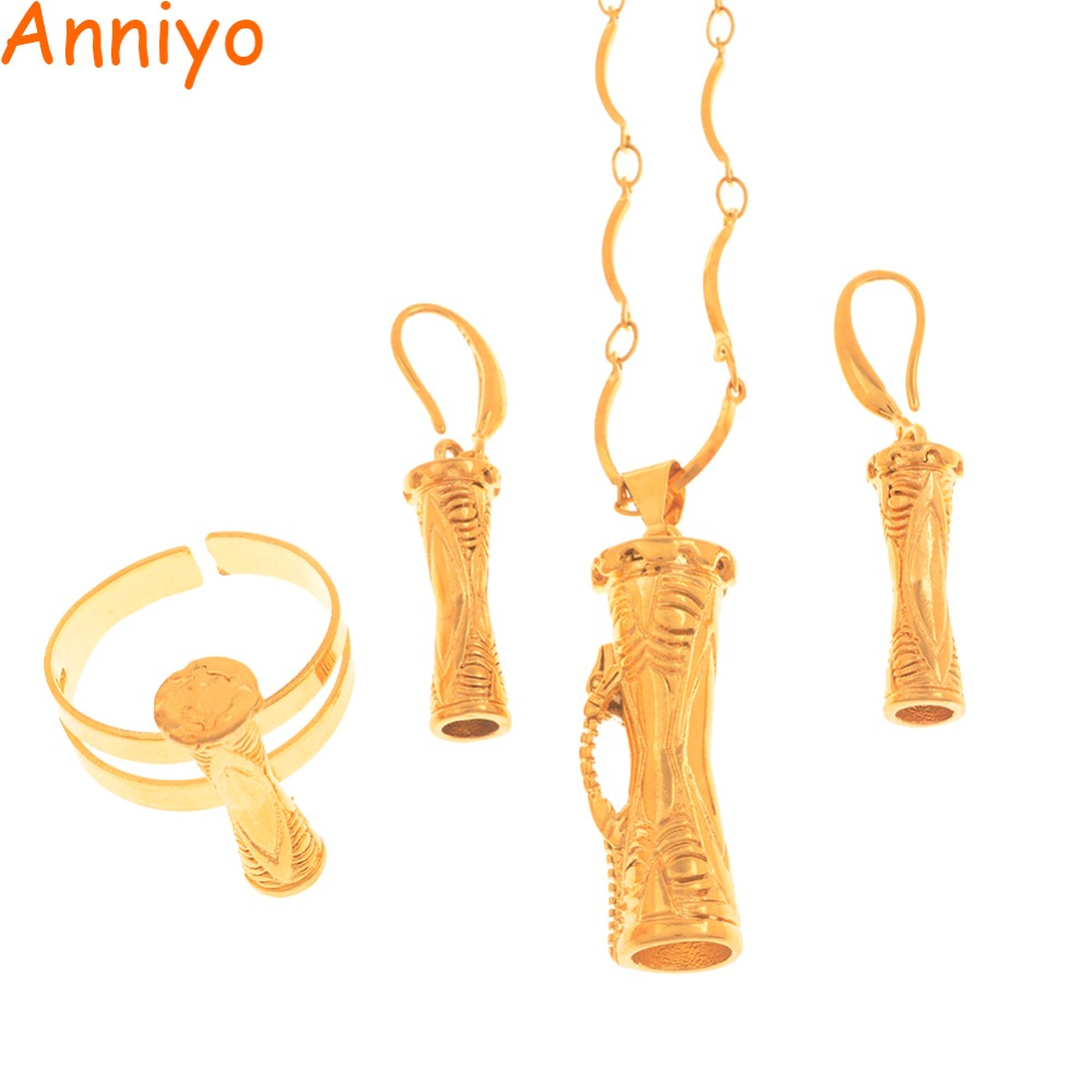 Anniyo Papua New Guinea Drum Pendant Necklaces Earrings Ring Traditional PNG Style Kundu Jewelry sets #115506