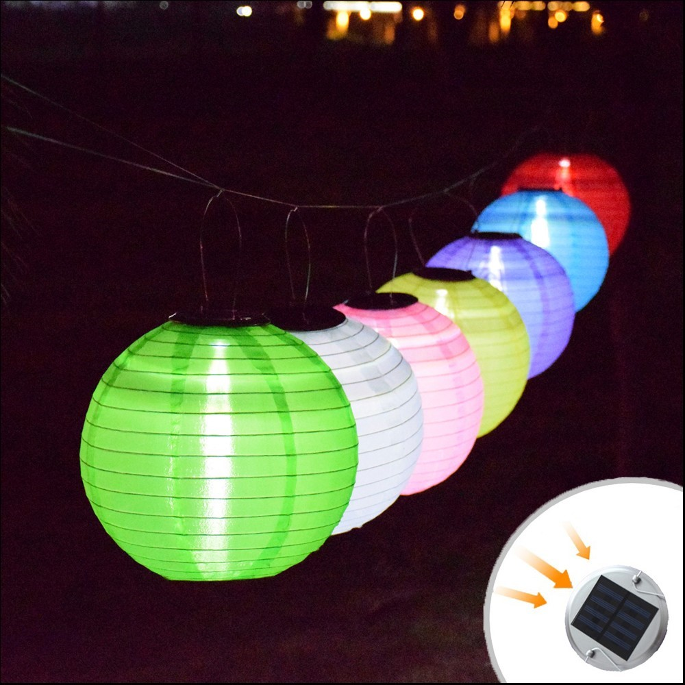 12inch Lantern Solar Garden Light Outdoor Lantern Ball Solar Fairy Globe Lamp Wedding Decoration With Battery Holiday Lighting