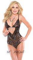 MOONIGHT Black Sexy Costumes Lady Underwear women Sexy Lingerie hot Transparent Conjoined sleepwear Suit babydoll