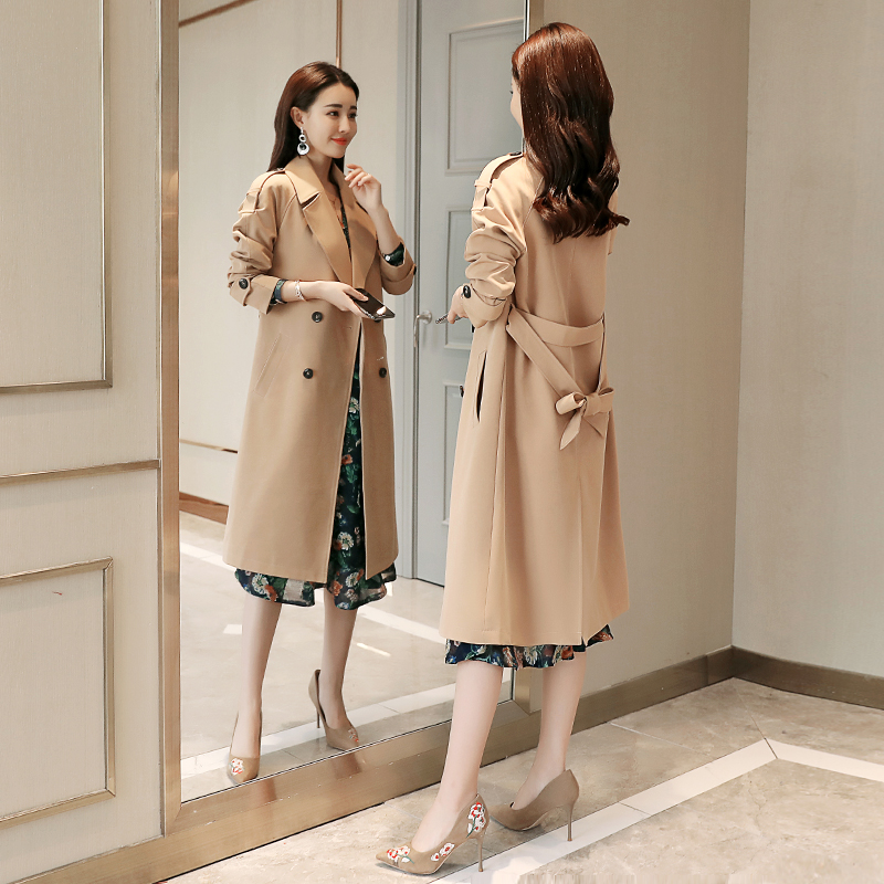 Fashion Women Double Breasted Mid-long Trench Coat Women Khaki Slim Belt Cloak Mujer Windbreaker Female Abrigos autumn coat