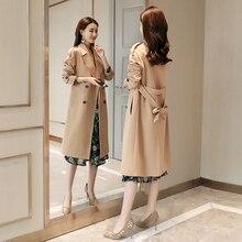 Fashion Women Double Breasted Mid-long Trench Coat Women Khaki Slim Belt Cloak M
