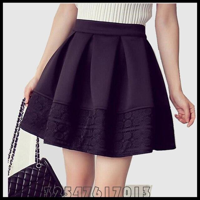 Woman 2015 Skirt Autumn Winter Fashion High-quality High Waist Short Space Cotton Lace Stitching Black Pleated Skirts Big S-XXL