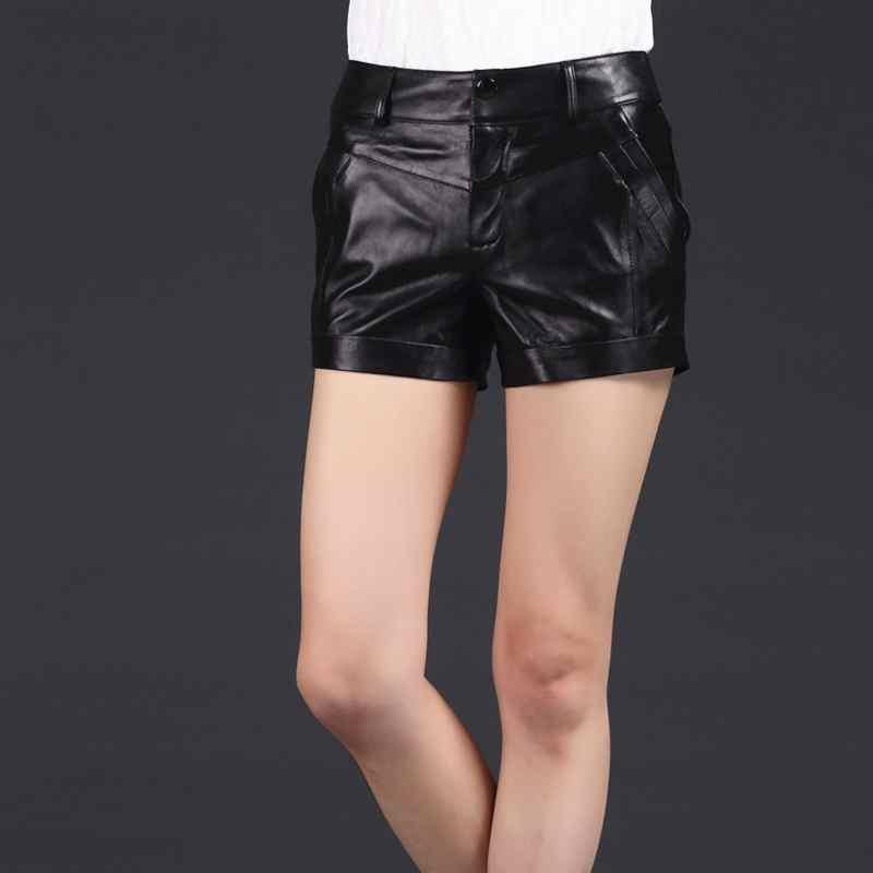 Weibliche Plus Sizem Leder Qualität Schaffell Dünne Hohe Marke 3xl Koreanischen Echtes Stil 2019 Mode Shorts Dame Black Frauen Neue xaO4Zg