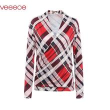 Women Female Fashion V-Neck Stylish Cross Plaid Long Sleeve Fit Sheathy Top Blouses Multicolor S/M/L/XL Blusas Y Camisas Mujer