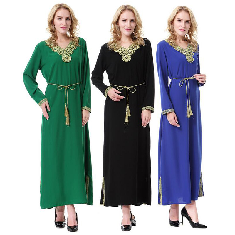 7afe243923682 Buy Online Muslim Women Long Sleeve Tunic Dress Islamic Arab Middle ...
