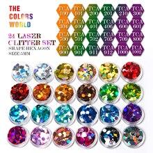 24 Laser Holografische Kleuren Hexagon Vorm glitter voor Nail Glitter art decoraties make facepaint nagellak DIY Accessorie