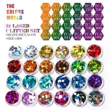 Paillettes holographiques 24 couleurs en forme dhexagone, Laser pour décorations Nail art, peinture de visage, vernis à bricolage même