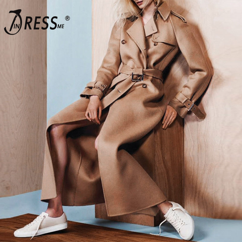 INDRESSME Fashion Sashes Belt Long Women   Trench   Casual Turn Down Collar Button Wide Waisted Full Sleeve Solid Women Coat 2019
