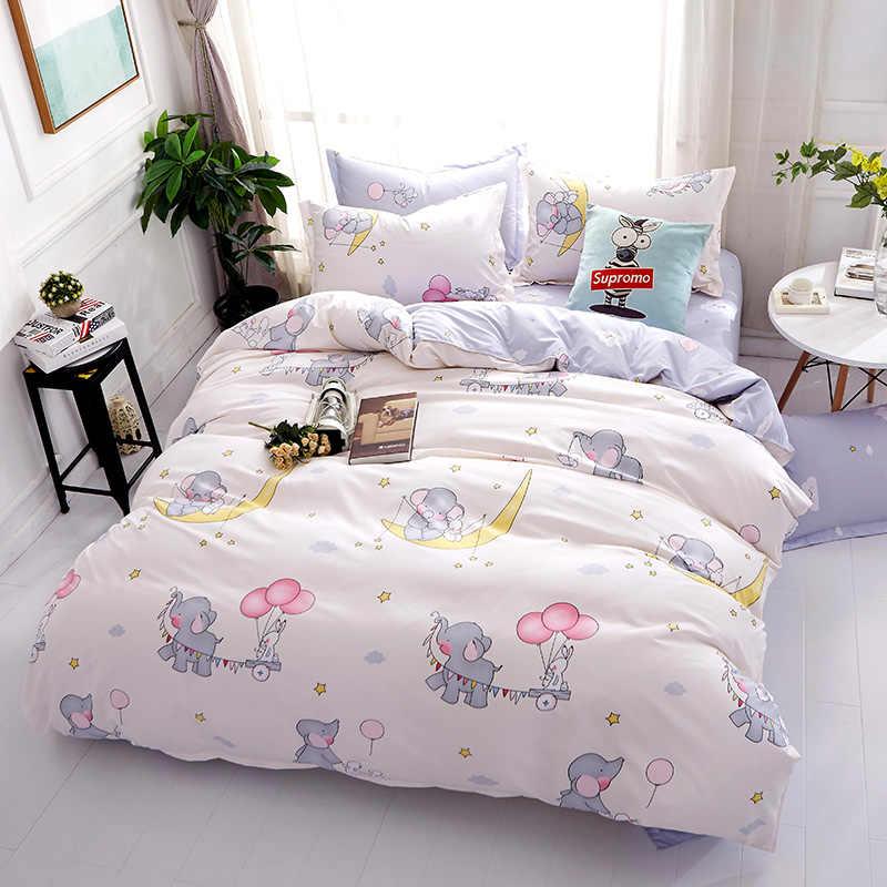 Sookie Cute Cartoon Bedding Set 3pcs Elephant Print Duvet Cover Sets Soft Bedclothes Twin Full Queen King Size Bed Linen
