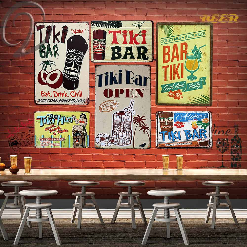 Serf Huts Group: The Tiki Hut Surf Sand And Suds Metal Plaques Shabby Chic