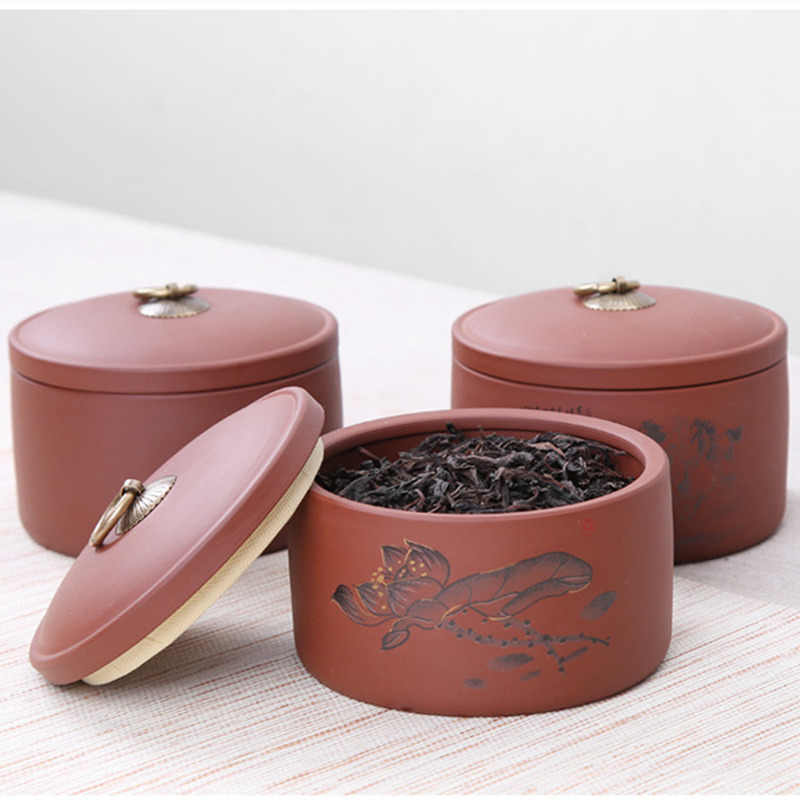 Purple Clay Kitchen Cans For Spices Storage Tea Packaging Box