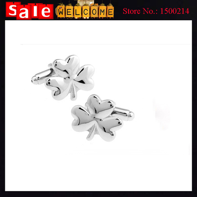 Clovers Flower Plant Silver Plated Lucky White Cuff Links Male French Shirt cuff links for Men's Jewelry Gift 12pcs Wholesale