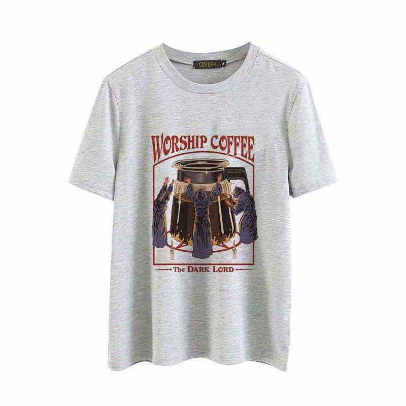 Vintage 80s Tops Harajuku Kawaii Streetwear Tumblr 90s Female T-shirt Worship Coffee Printed Shirt Women Funny T-shirt Women