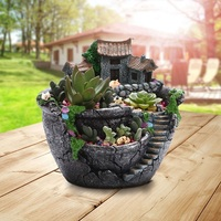 Resin 18*16*17cm Flower Pot Planter Prop Plant Garden Home Creative Succulent Fashion Creative Models Garden Supplies Decoration