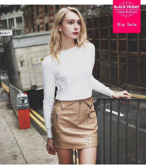 b8f65b13358bd 2018 Spring Ladies Skirt Black High waist patent leather one step skirt  female summer package hip A word small skirt wj1835